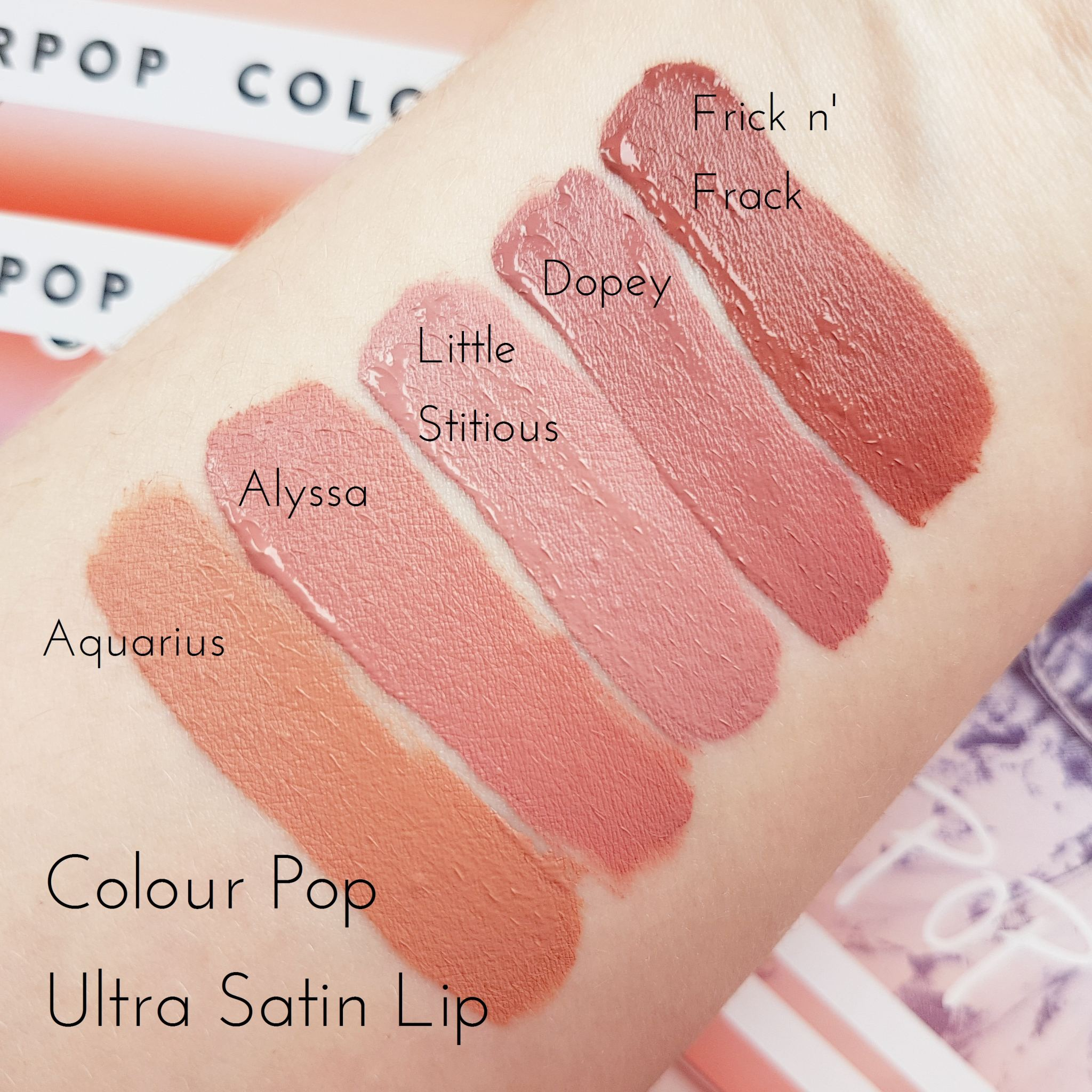 Ultra Satin Lipstick Swatches - Aquarius, Alyssa, Littlestitious, Dopey and Frick n' Frack
