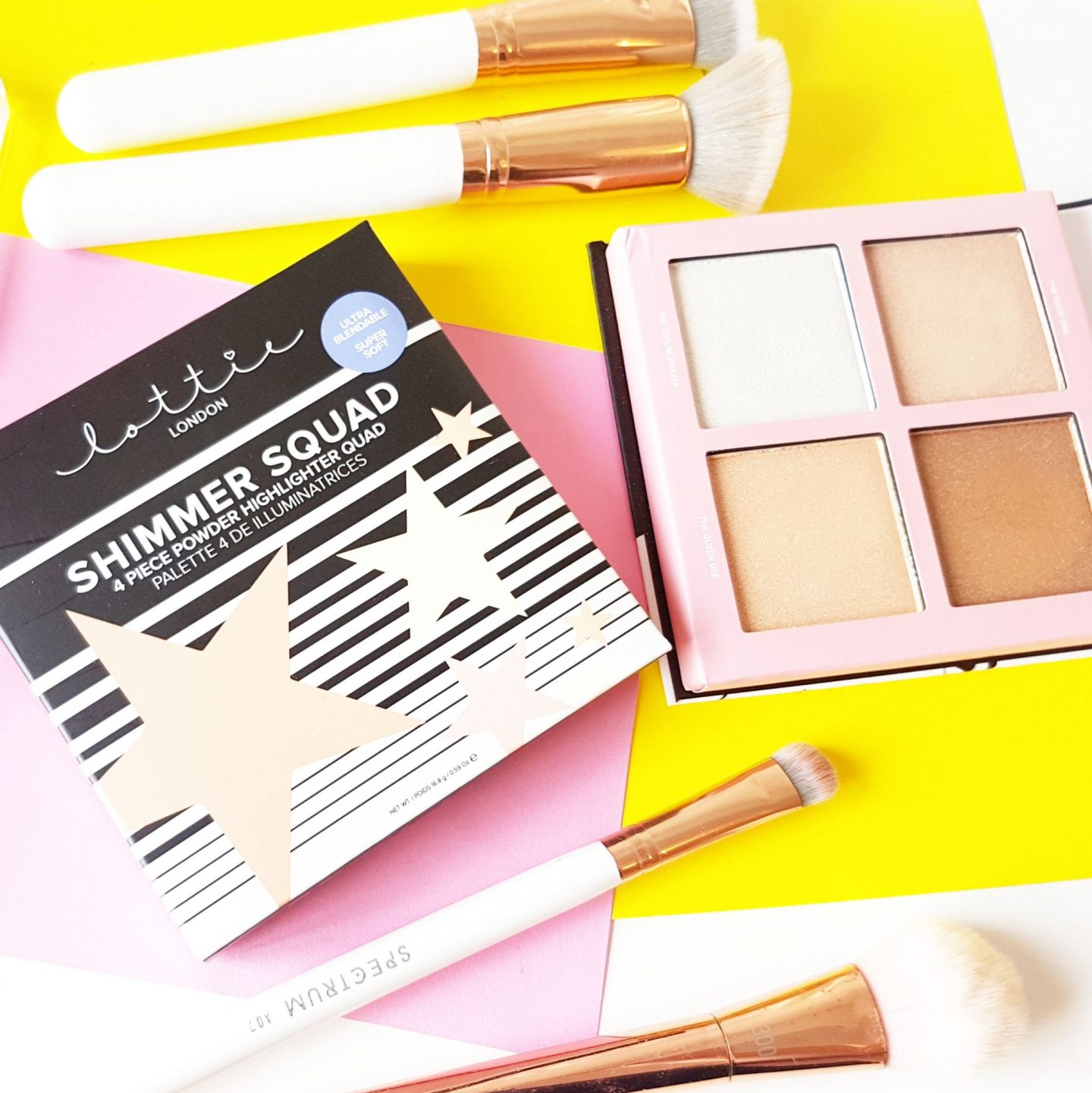 Lottie London Shimmer Squad Highlighter Quad | Review & Swatches